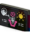 Black Tile 2 x 3 with White Watering Can, Dark Pink Flower in Pot, Yellow Sun, Numbers 1 and  2 (Sticker) - Set 41425