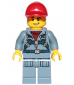 Ocean Mini-Submarine Pilot - Male, Harness, Sand Blue Legs with Pockets, Red Cap, Lopsided Grin