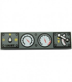 Dark Bluish Gray Tile 1 x 4 with Light Switch, 2 White Gauges and Train Throttle Pattern