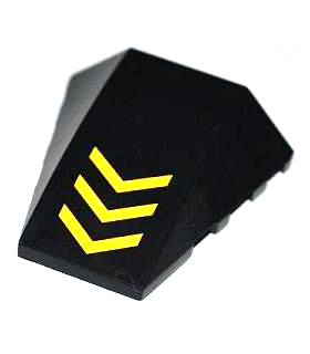 Black Wedge 4 x 4 No Top Studs with 3 Yellow V-Shaped Stripes Pattern (Sticker) - Set 6863