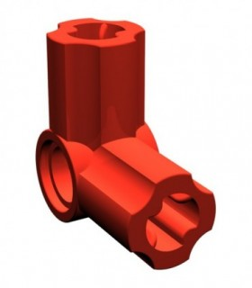 Red Technic, Axle and Pin Connector Angled N6 - 90 degrees