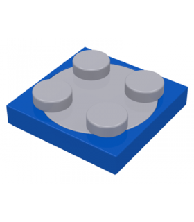 Blue Turntable 2 x 2 Plate, Complete Assembly with Light Bluish Gray Top