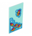 Trans-Light Blue Glass for Window 1 x 4 x 6 with 5 Seahorses, Water and Air Bubbles Pattern